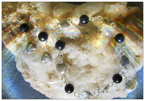 Handmade Silver Jewelry Set with Blue Goldstones and Fish by IreneDesign2011