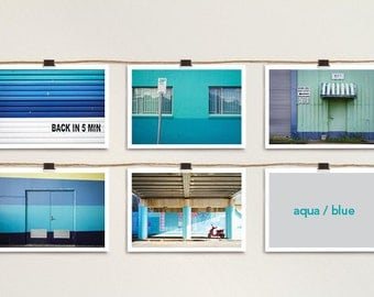 5 x colourful industrial postcard prints [aqua blue]