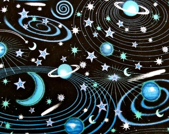 Space Planets and Stars Cotton Print