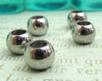 8mm Bead, Stainless Steel Large Hole Beads, Set of 5 SST Findings 6.5x8mm  Seamless Beads (040)