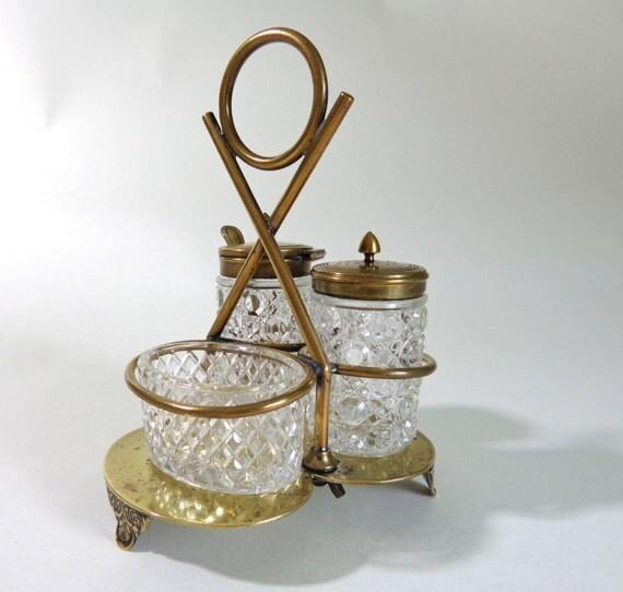 Cruet set antique crystal and brass pepper salt by ruedelouvain - Salt and pepper cruet set ...