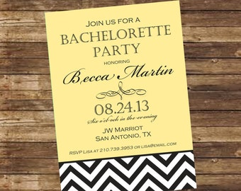 Printable Yellow Bottom Chevron Bachelorette Invitation