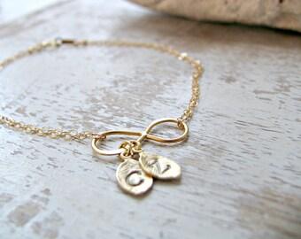 Personalized Initial Bracelet Infinity Bracelet Infinity Jewelry Gold Leaf Bracelet Monogram Initials Mother's bracelet custom initials