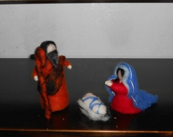 Nativity set Needle Felted Wool Doll Soft Sculpture Waldorf Inspired