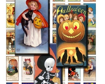 Vintage Halloween Kids Cards Antique Children Digital Images Collage Sheet 1x2 inch Rectangles Domino Commercial INSTANT Download RD16