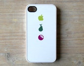 iPhone case White fruits iPhone 4/4S case - Apple, pear and orange cover