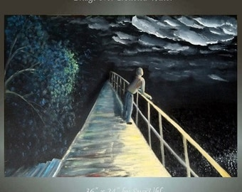 """36"""" x 24"""""""" x 1.5"""" Original Painting Large Canvas Modern Wall Art Abstract Contemporary Man on Bridge Over Troubled Water Night Painting"""