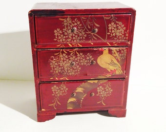 Japanese Three Drawer Jewelry Box