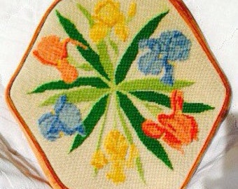 Iris Needlepoint Petit Point Pillow