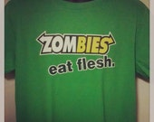 Halloween Tshirt - Men's Zombies Subway Eat Flesh Funny and Humorous Christmas Gift for Him Walking Dead Fan