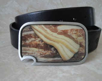 Bacon Strip belt buckle with built-in bottle opener