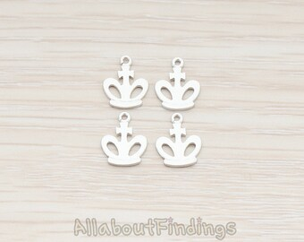 PDT6071-MR // Matte Original Rhodium Plated Small Crown Pendant, 2 Pc