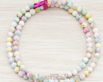 ETC999-01-MP // Mixed Pink Colored Round Artficial Jade Stone, 4mm, 1 Strand