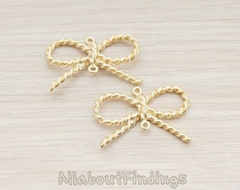 PDT541-01-MG // Matte Gold Plated Twisted Rope Bow Ribbon Connector Pendant, 2 Pc