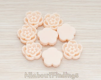 CBC028-PE // Peach Colored Chrysanthemum Flower Flat Back Cabochon, 4 Pc