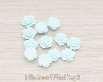 CBC157-04-LB // Light Blue Colored XSmall Angelique Rose Flower Flat Back Cabochon, 8 Pc