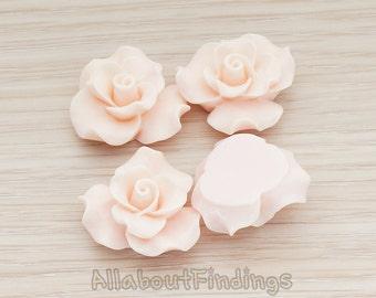 CBC191-LP // Light Pink Colored Bloom Rose Flower Flat Back Cabochon, 4 Pc
