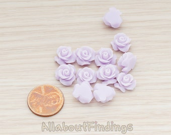 CBC191-01-LA // Lavender Colored Small Bloom Rose Flower Flat Back Cabochon, 6 Pc