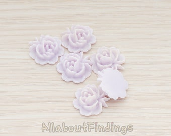 CBC503-LA // Lavender Colored Flat Rose Flower Back Cabochon, 6 Pc