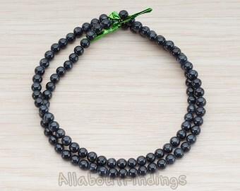 ETC999-01-BL // Black Colored Round Artficial Jade Stone, 4mm, 1 Strand