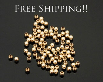 100 PCS Gold Filled 2mm Beads , Round Polished ,  Made in Italy ,  14/20 14kt , FREE SHIPPING
