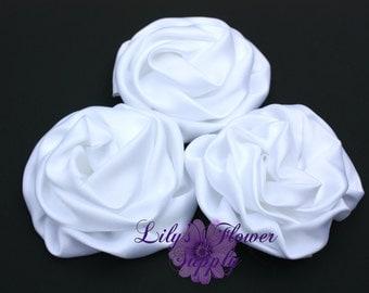 Rolled Satin Rosette - SET of THREE - White Satin Flower - Satin rosettes - Rolled Rosettes - Wholesale - supply - diy