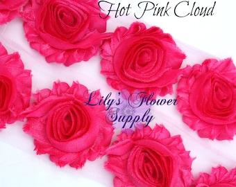 Cloud Hot Pink Shabby Rose Trim - Shabby Flower Trim - Shabby Rose trim - Shabby Flower - Chiffon Flower - Shabby Chic - Wholesale - 1 Yard