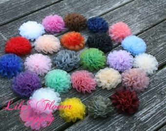 Grab Bag - Light Petti Puff - Chiffon Flower - Chiffon Rosette - Ruched Flower - Embellishment -  Wholesale - Set of 10