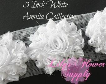 White Shabby Rose Trim - Shabby Flower trim - Shabby Flower - 1 Yard - Chiffon Flower - White - Shabby Chic - Rose Trim - Wholesale