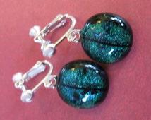 Green Screw Back Earring, Dichroic Green Clip On Earings, Dangle Clipon Earrings, Fused Glass Jewelry  -  Amy - 1949 -1