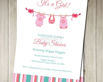 Printable Custom Lovely Laundry Baby Shower Invitation Template