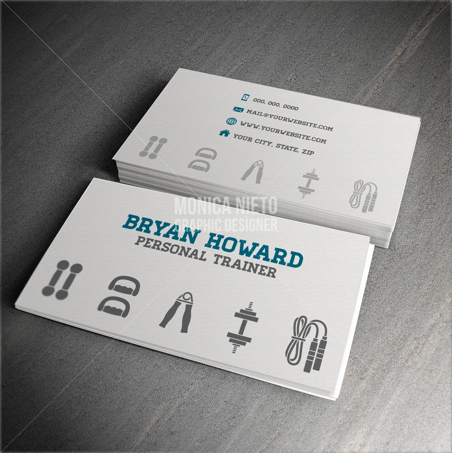 custom printable personal trainer business card template