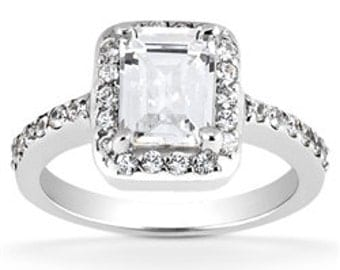 0.85 Cttw Diamonds Engagement Ring in 14K White Gold