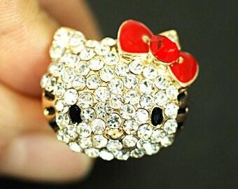 Rhinestone Hello Kitty Adjustable Cat Ring