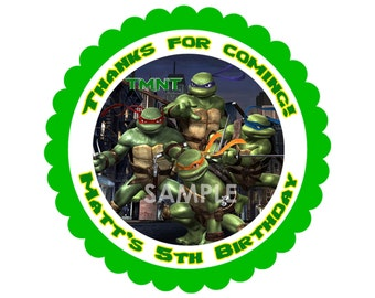 Teenage Mutant Ninja Turtles Treat Bag Label - Printable Thank You Favor Sticker matches TMNT Birthday Invitation Party Supplies