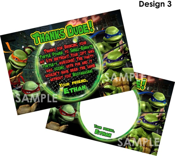 TMNT Teenage Mutant Ninja Turtles Thank You Card Printable