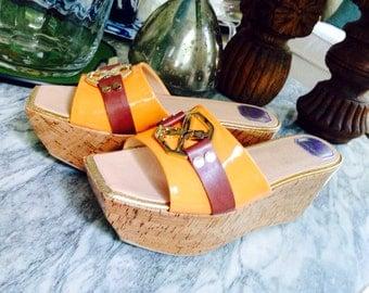 Fabulous Donald Pliner Tangerine & Gold Wedge Sandals Size 10