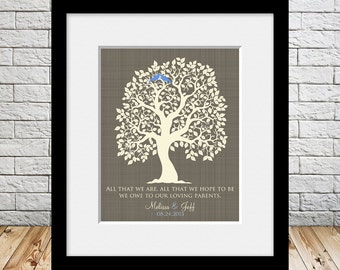 Wedding Gift for Parents, All That We Are, Bride Parents Gift, Grooms Parents Gift, Wedding Tree Print