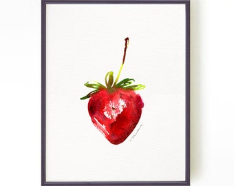 Buy 2 Get 1 Free Strawberry watercolor painting, Kitchen art, Fruit painting, Nature print, Fruit artwork, Kitchen wall art, Red home decor