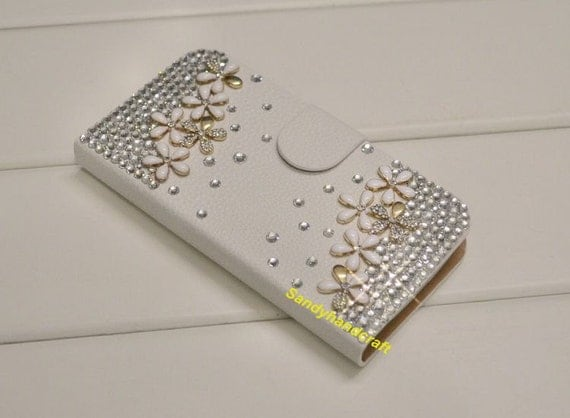 iPhone Wallet Case Bling iPhone 4s Wallet, floral iPhone 4 Case Phone ...