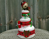 Reindeer Holiday Diaper Cake, Winter Themed Baby Shower, Winter Baby Gift