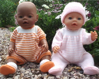 Felicity Onesie Body suit   PDF Knitting Pattern for Doll Clothes to suit 16-17 inch / 40 - 43cm Baby Dolls such as Baby Born
