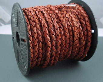 Leather Braided Cord, 5MM Antique Tan Bolo Leather, Excellent Quality All Leather, One Yard