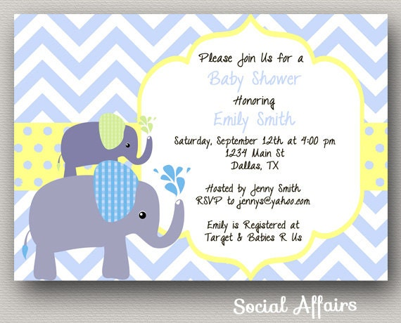 elephant baby shower invitation boy diy printable invitation on etsy