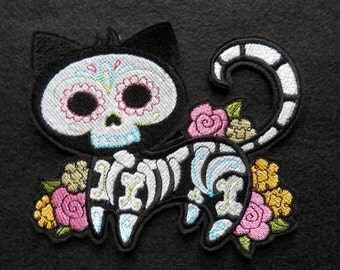 """Day of the Dead, Dias de los Muerto, Skeleton Cat Patch, Large 5.7"""" X 4.84"""", Biker, Tattoo, Iron-on Patch, Embroidered Patch, Embroidery"""