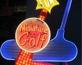 Vintage 1980's MINIATURE GOLF Antique Neon Bulb Lit Sign / Single Sided