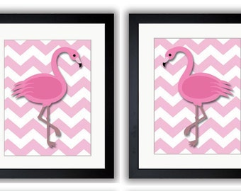 Pink Flamingo Pair Art Child Art Print Girls Pink Set of 2 Kids Room Wall Art Decor Girls Art Nursery Art Nursery Print Baby