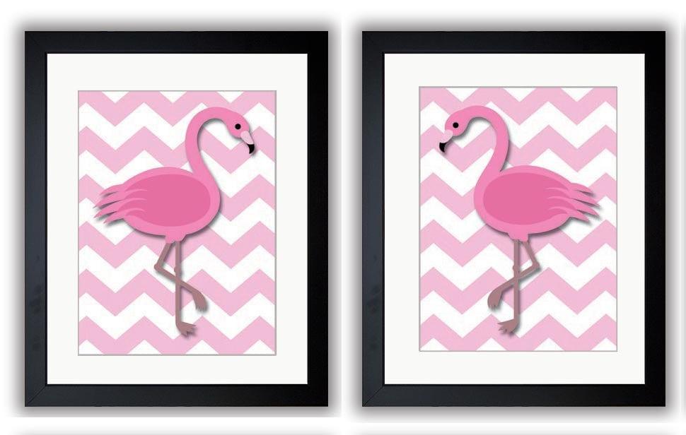 Pink Flamingo Pair Art Child Art Print Girls Pink Set of 2 Kids Room Wall Art Decor Girls Art Nurser