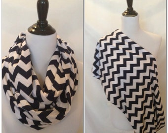 Nursing scarf- pick your finish! Navy chevron