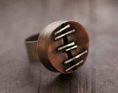Statement ring • sterling silver •  adjustable ring  • copper